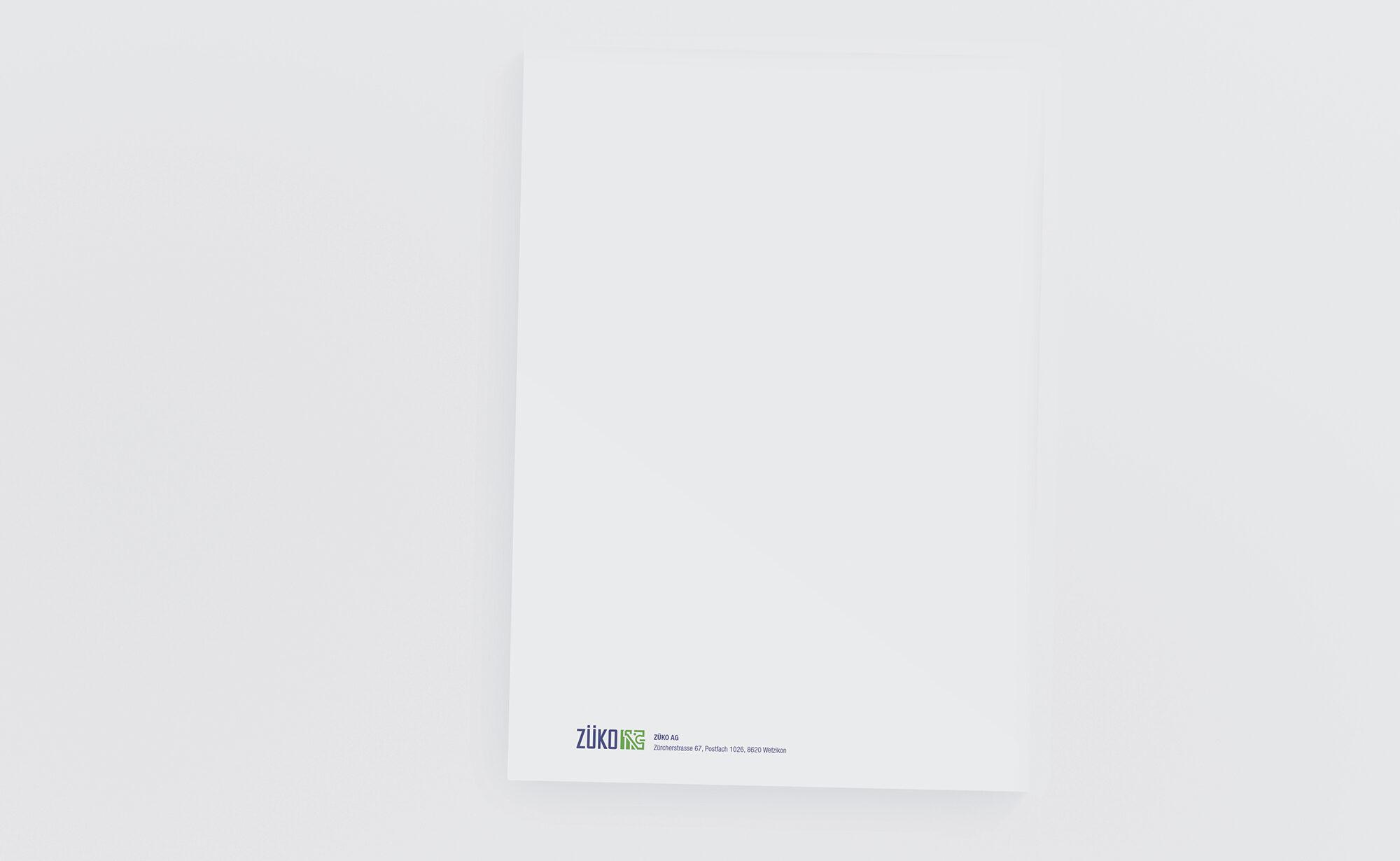 ZÜKO AG Briefpapier, ZÜKO Corporate Design
