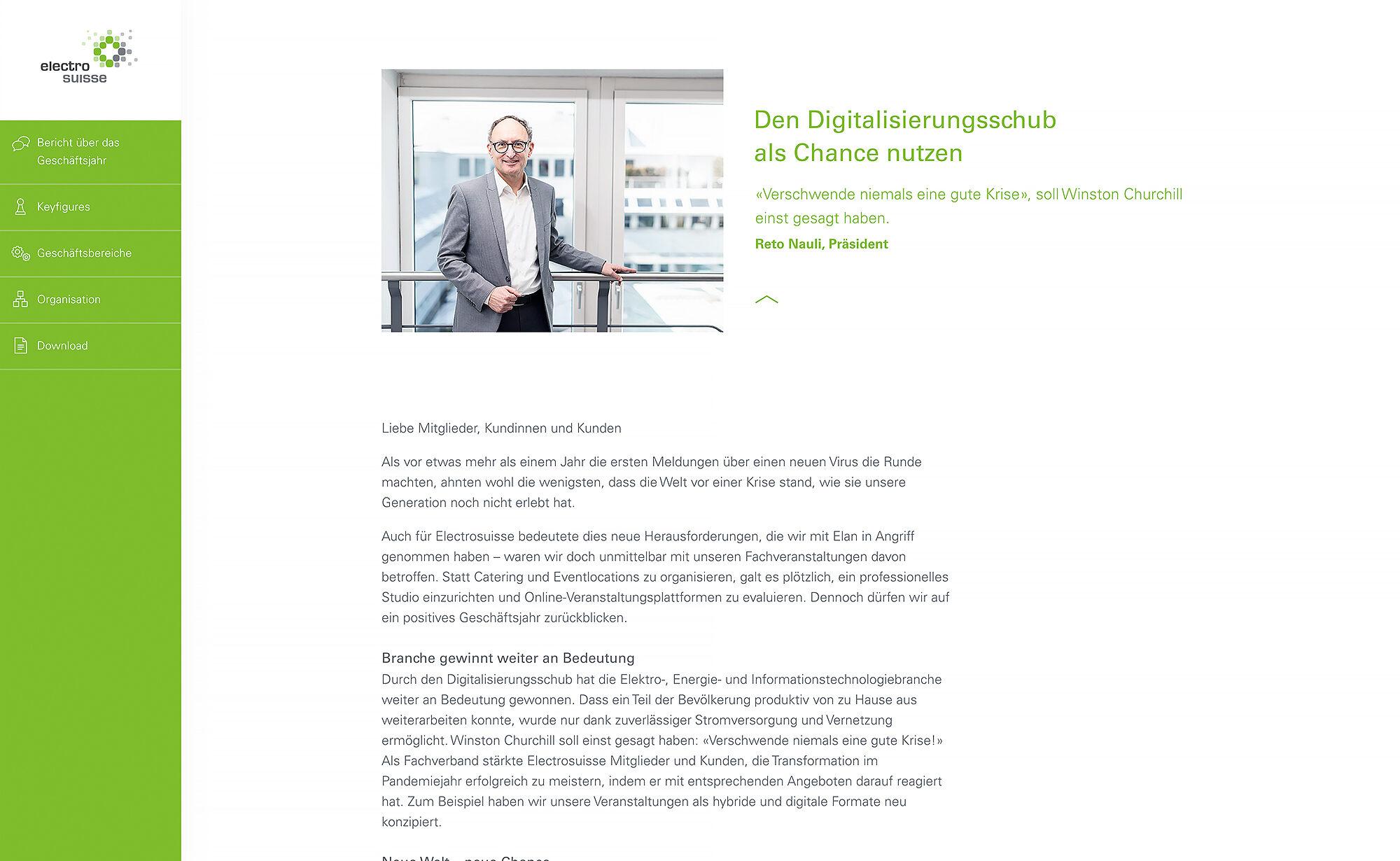 Digitalisierungsschub - Website Screenshot, Electrosuisse Digitaler Geschäftsbericht