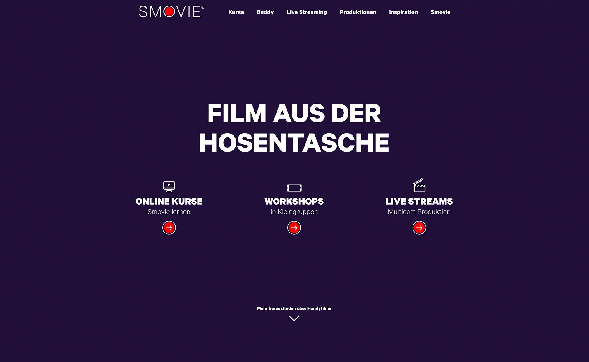 Film aus der Hosentasche, Screenshot Website - Smovie Film GmbH, smovie.ch