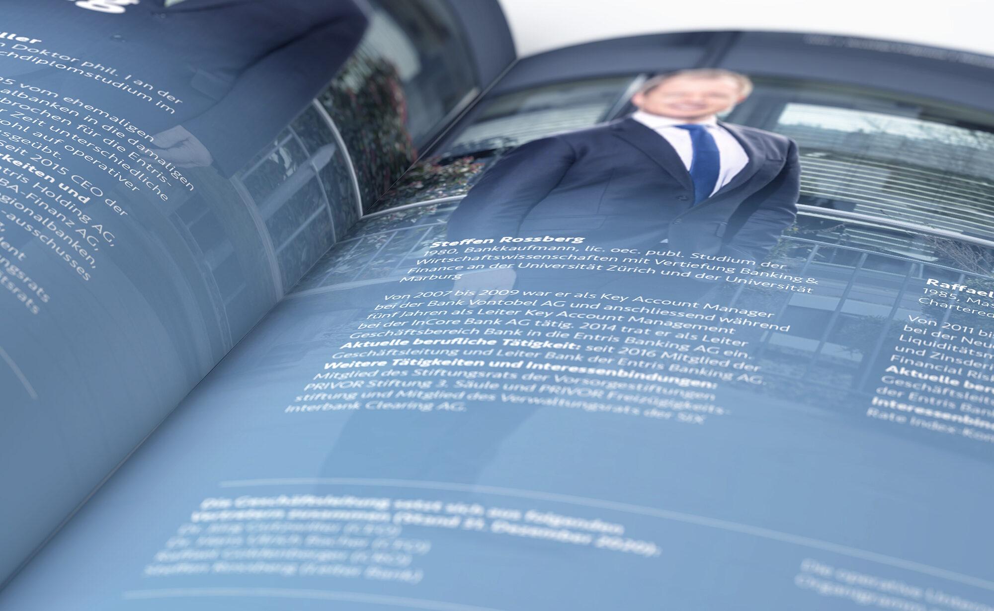 Doppelseite - Entris Banking Geschäftsbericht, Agentur Schmucki