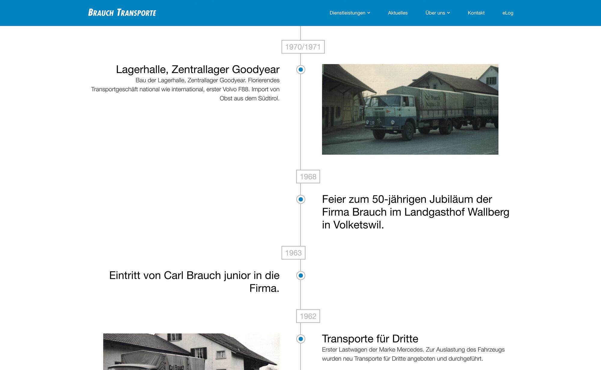 Geschichte, Website Screenshot – Brauch Transport AG, brauch-transporte.ch