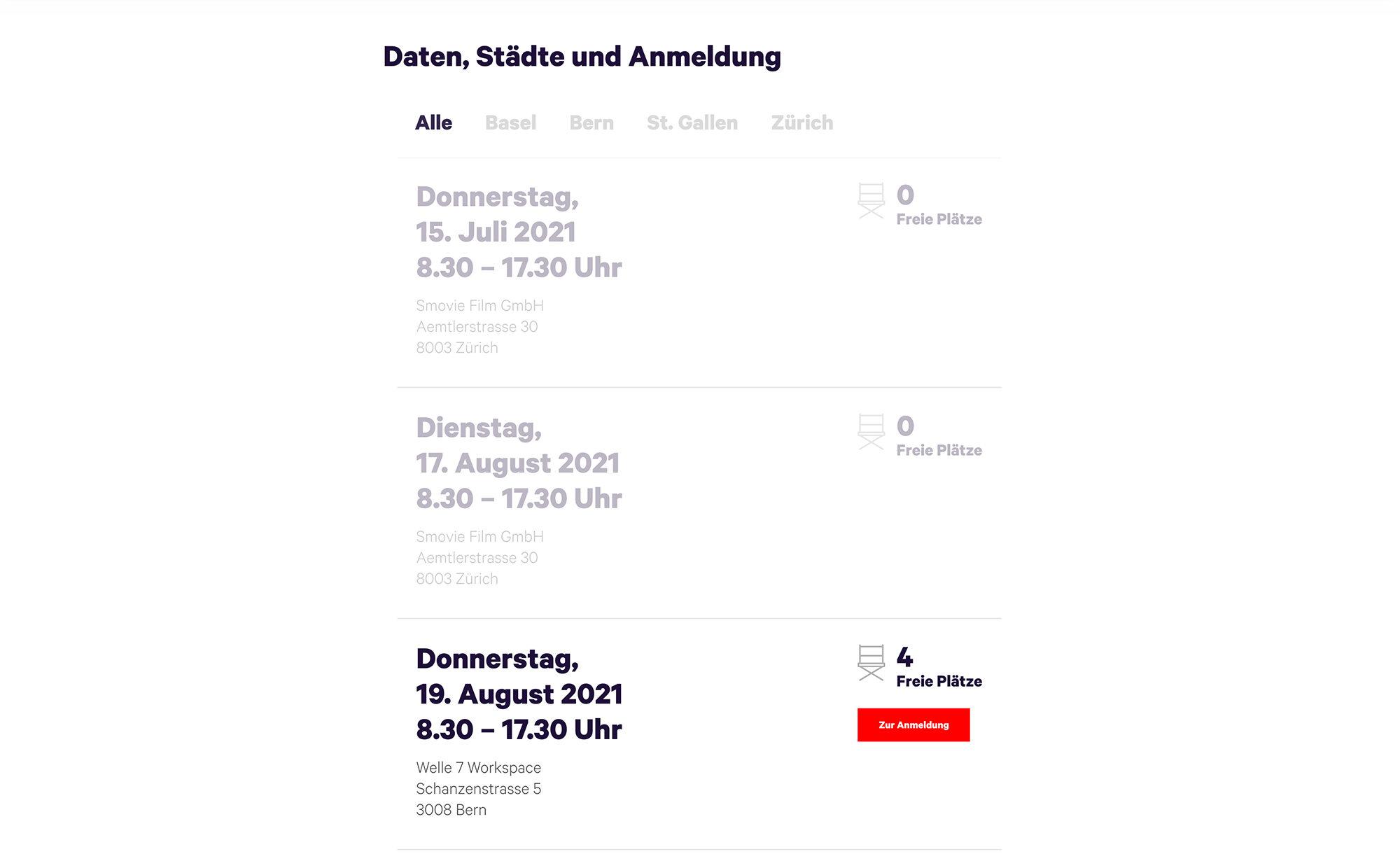 Kurs-Angebote, Screenshot Website - Smovie Film GmbH, smovie.ch