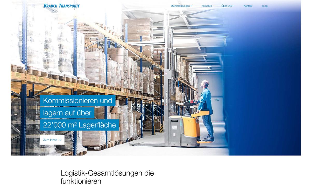 Logistik und Lager, Website Screenshot – Brauch Transport AG, brauch-transporte.ch