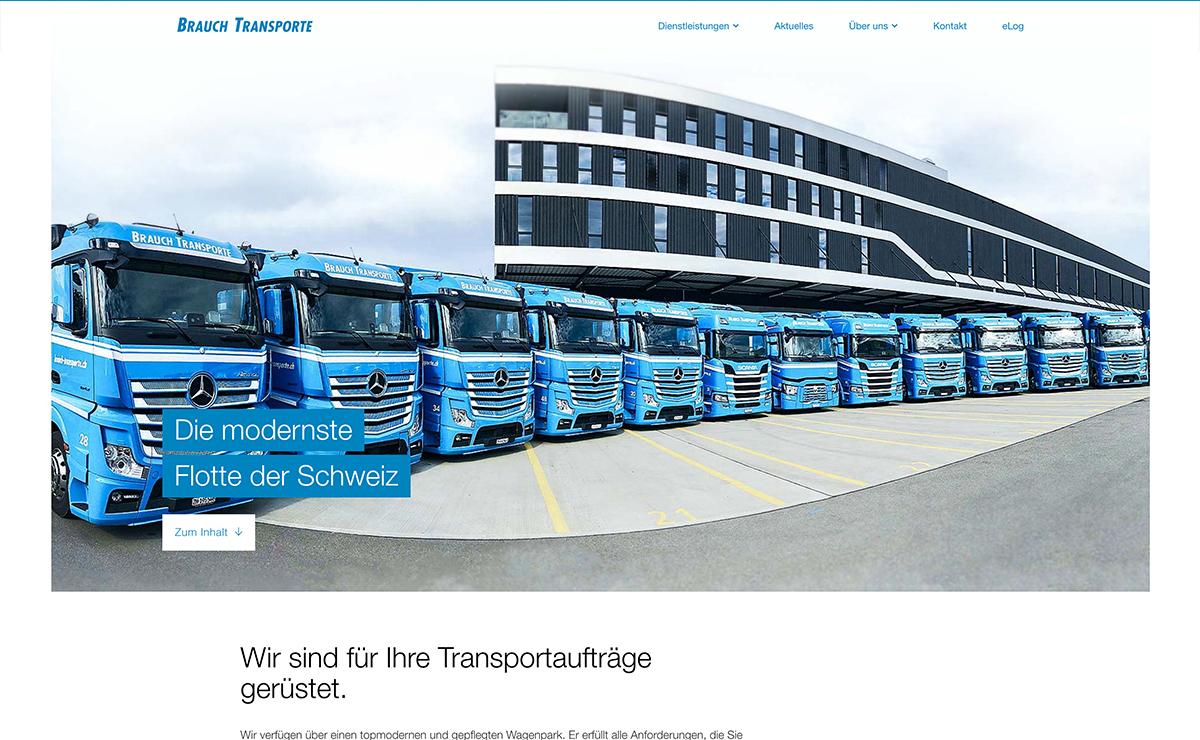 Die modernste Flotte der Schweiz, Website Screenshot – Brauch Transport AG, brauch-transporte.ch