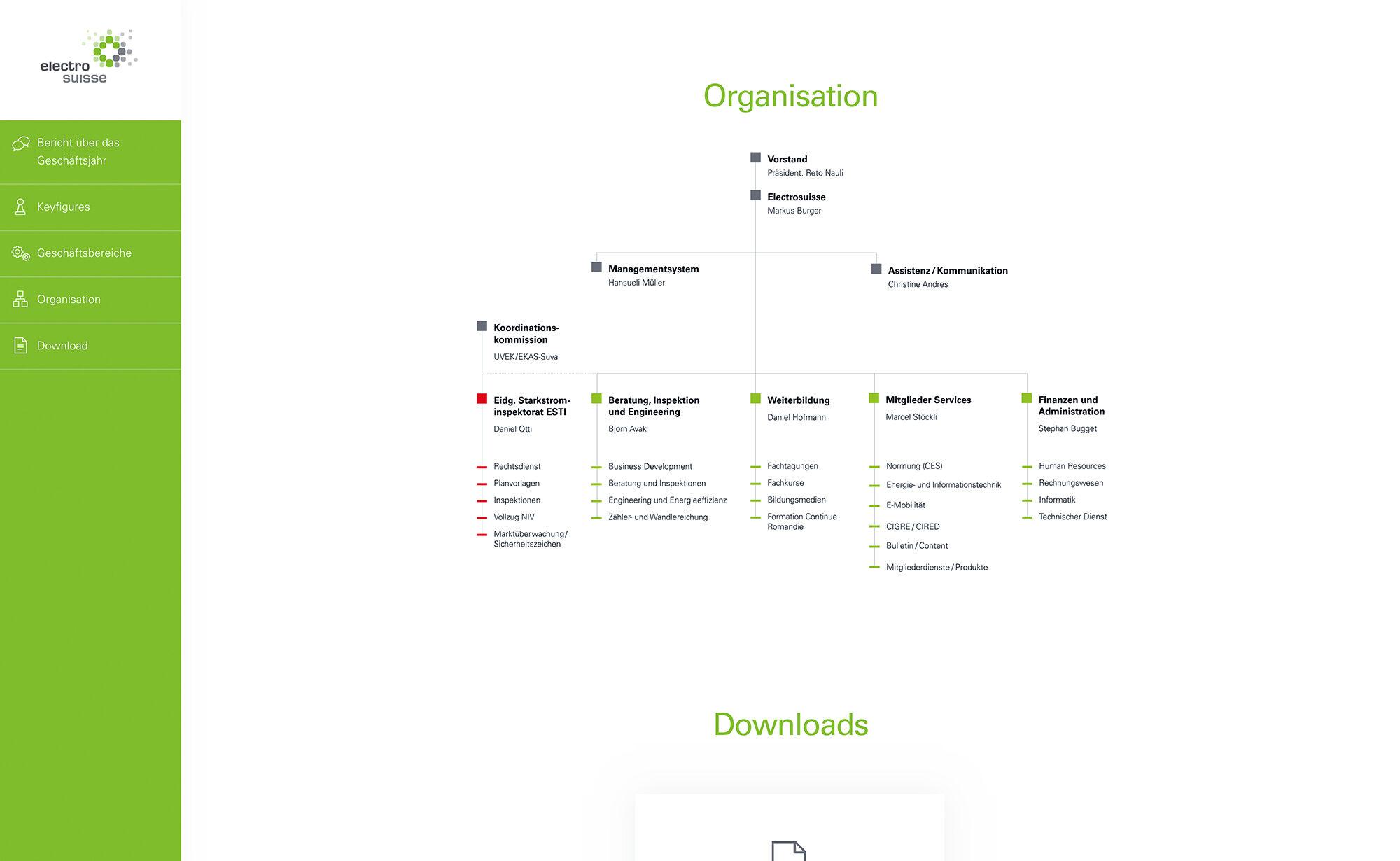 Organisation - Website Screenshot, Electrosuisse Digitaler Geschäftsbericht