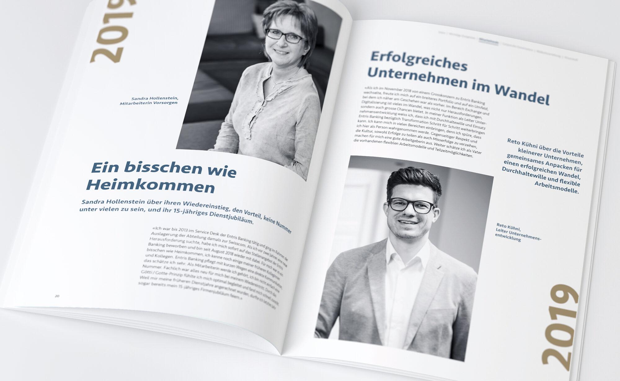 Erfolgreich - Entris Banking Geschäftsbericht, Agentur Schmucki