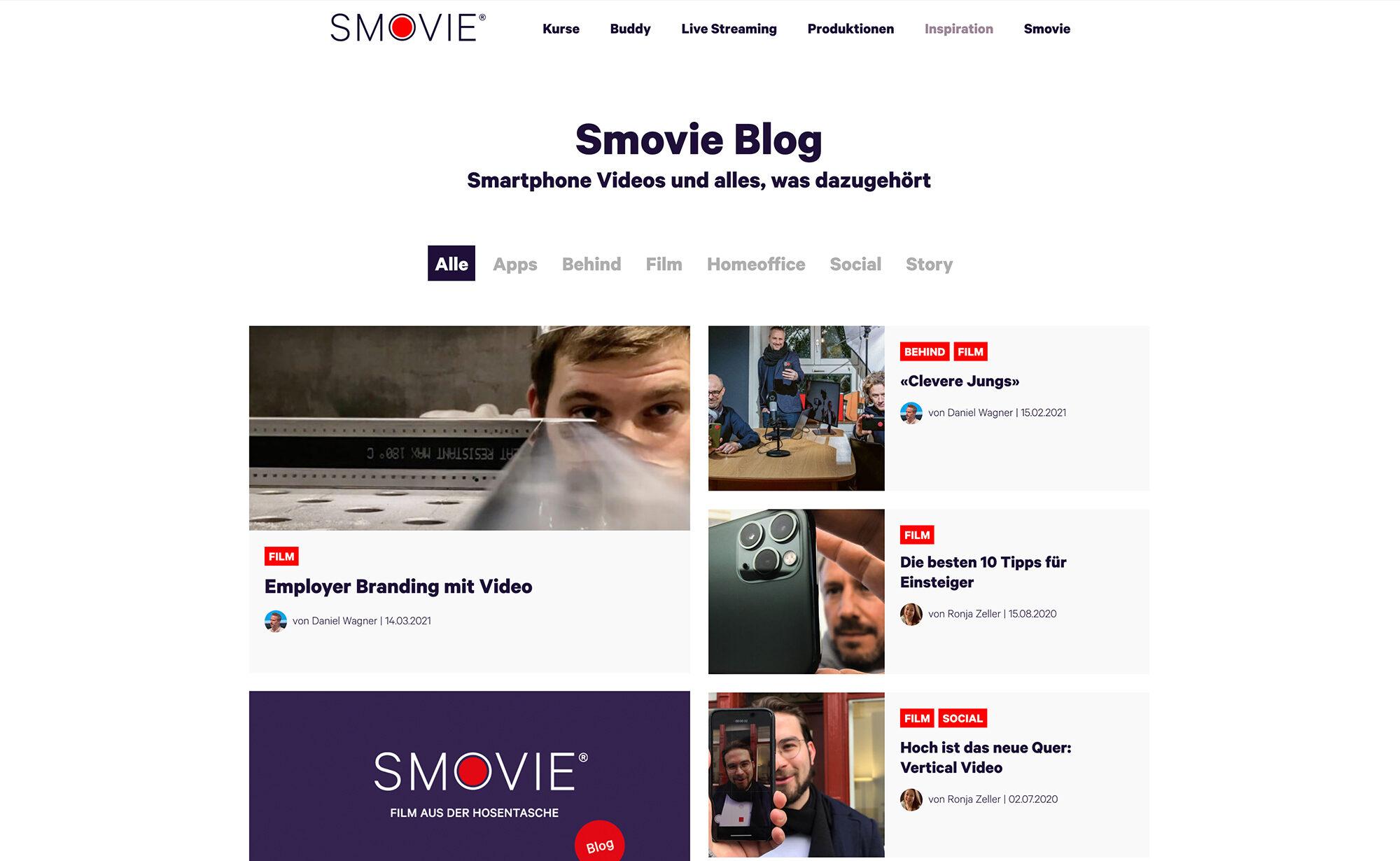 Blog Übersicht, Screenshot Website - Smovie Film GmbH, smovie.ch