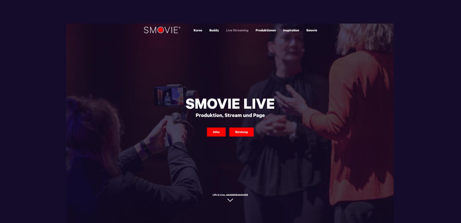 Smovie Live, Screenshot Website - Smovie Film GmbH, smovie.ch