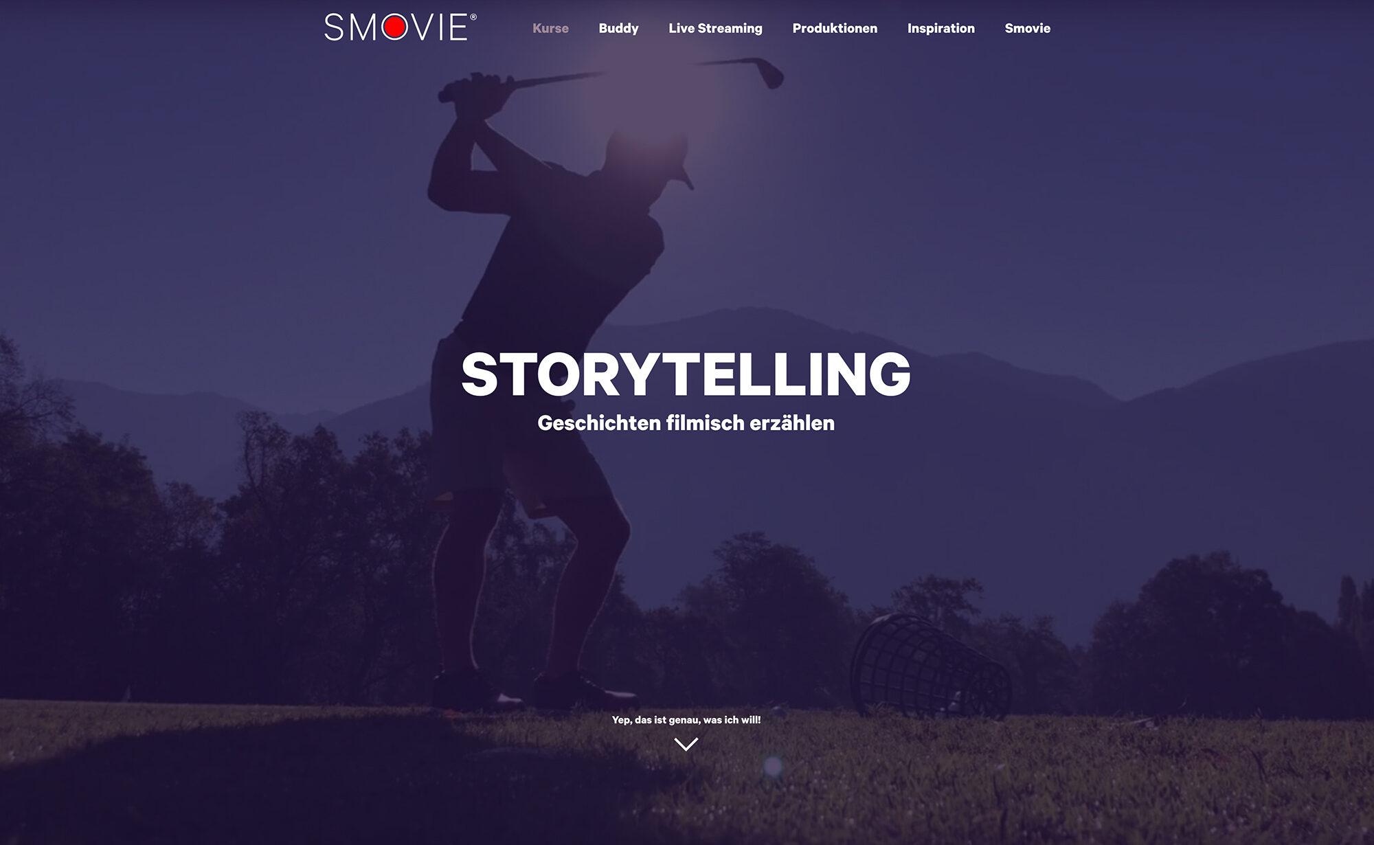 Storytelling, Screenshot Website - Smovie Film GmbH, smovie.ch