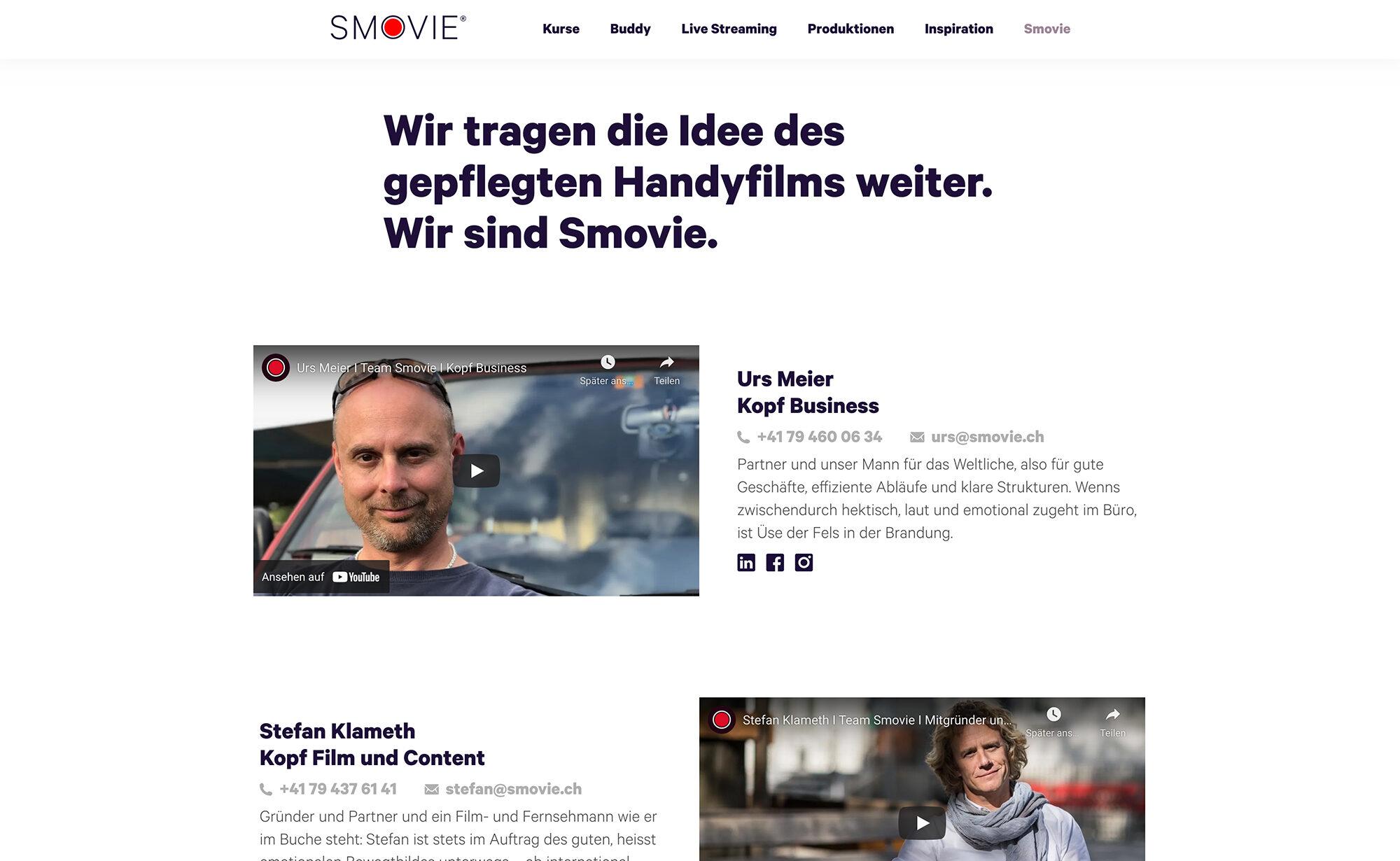 Über Smovie, Screenshot Website - Smovie Film GmbH, smovie.ch