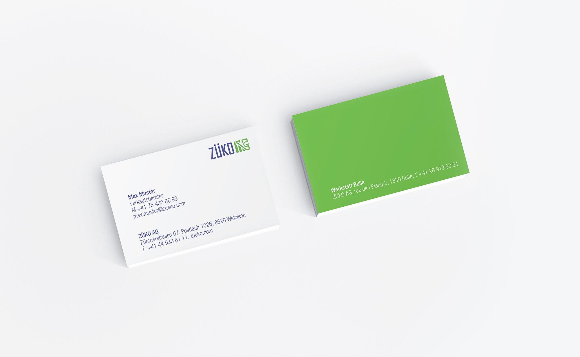 ZÜKO AG Visitenkarte, ZÜKO Corporate Design