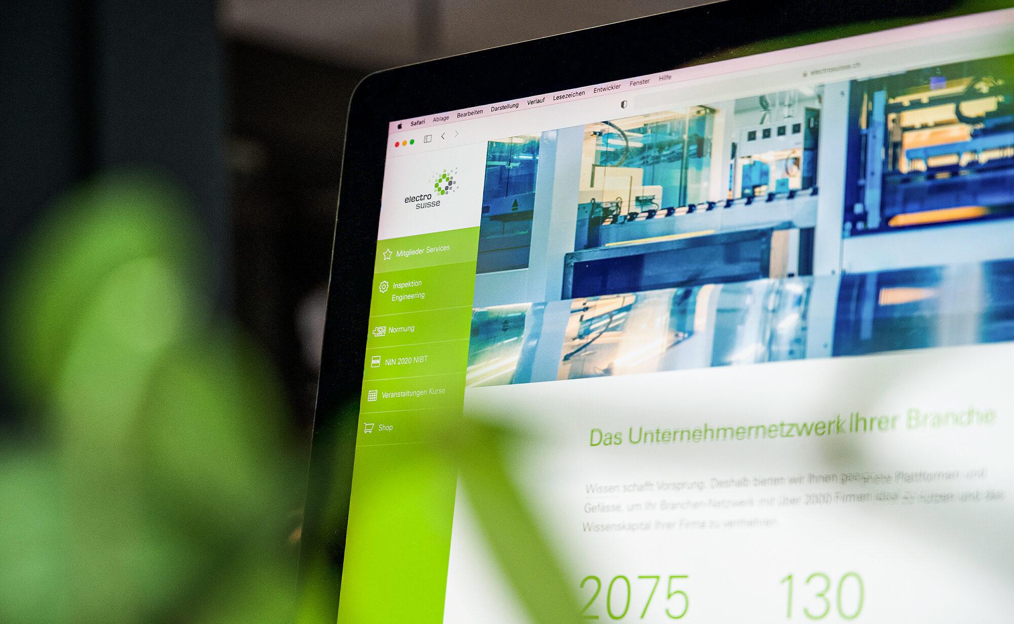 Foto von Electrosuisse Website, Electrosuisse Verband für Elektro-, Energie- und Informationstechnik