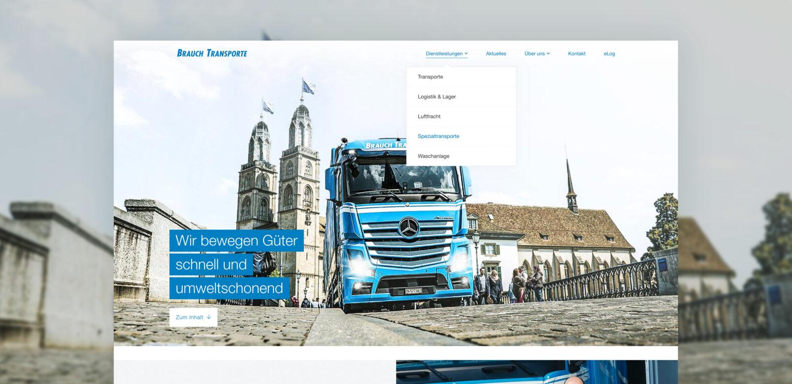 Wir bewegen Güter , Website Screenshot – Brauch Transport AG