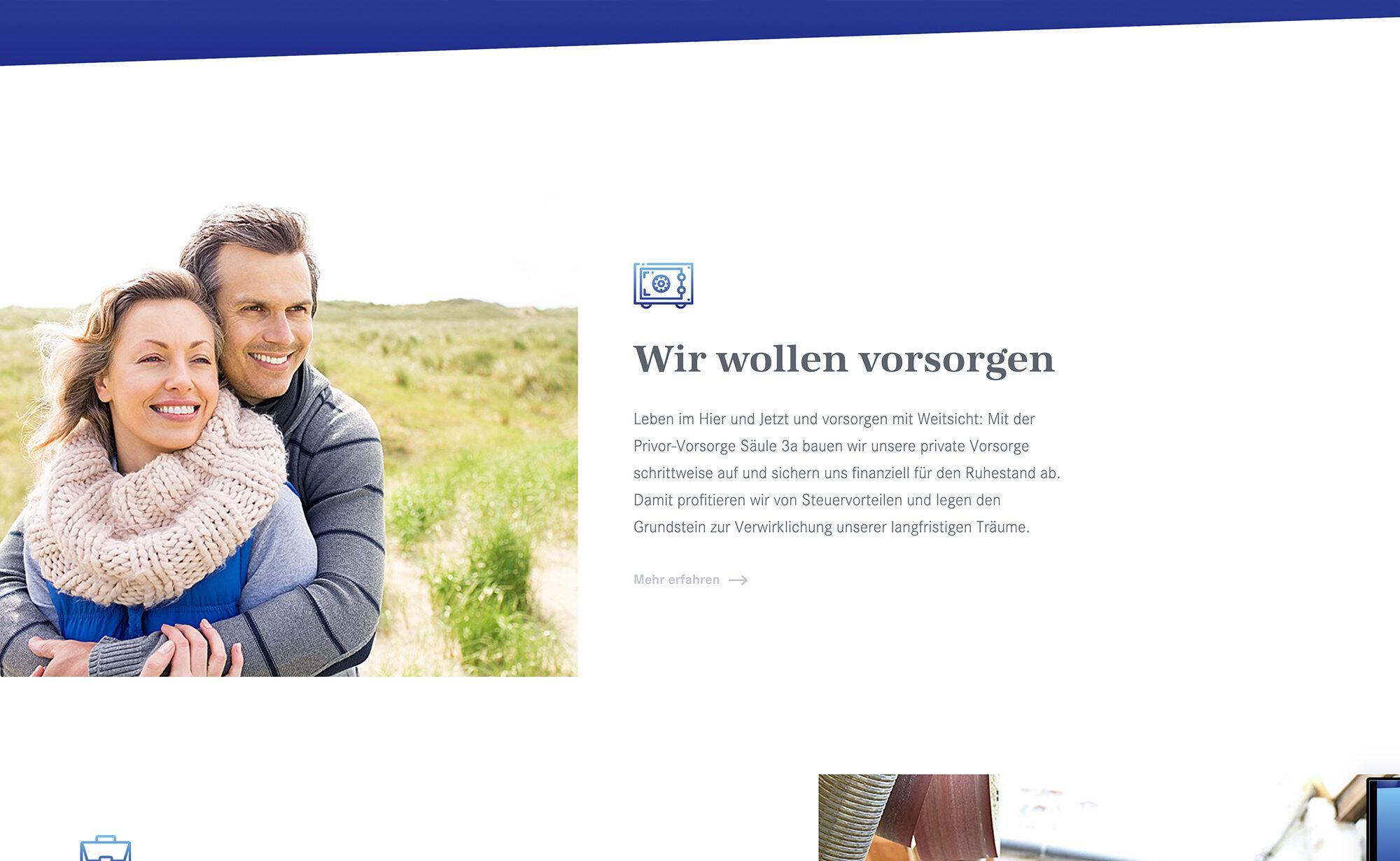 Wir wollen vorsorgen, privor.ch Screenshot - Privor Stiftung 3. Säule