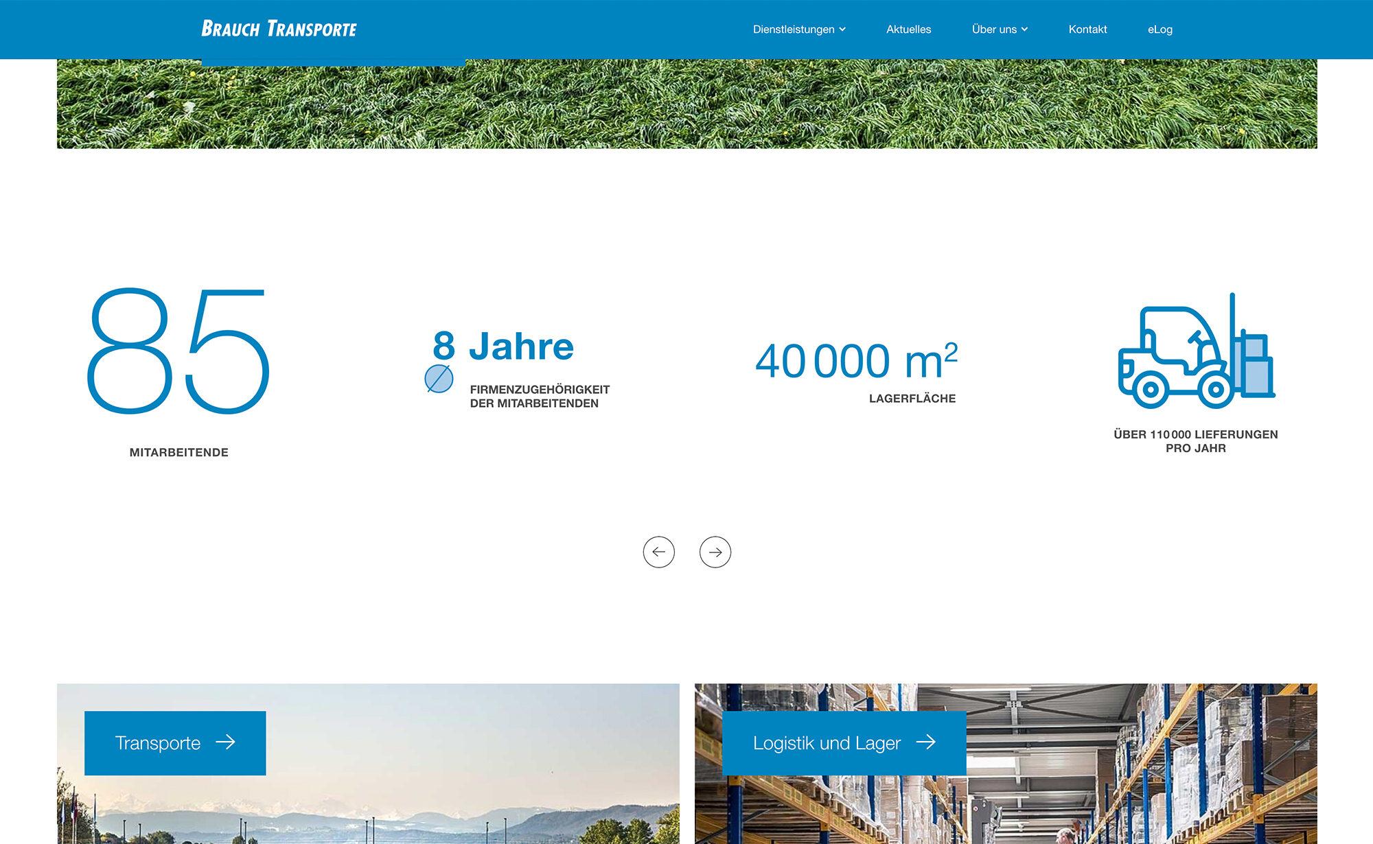 Zahlen und Fakten, Website Screenshot – Brauch Transport AG, brauch-transporte.ch