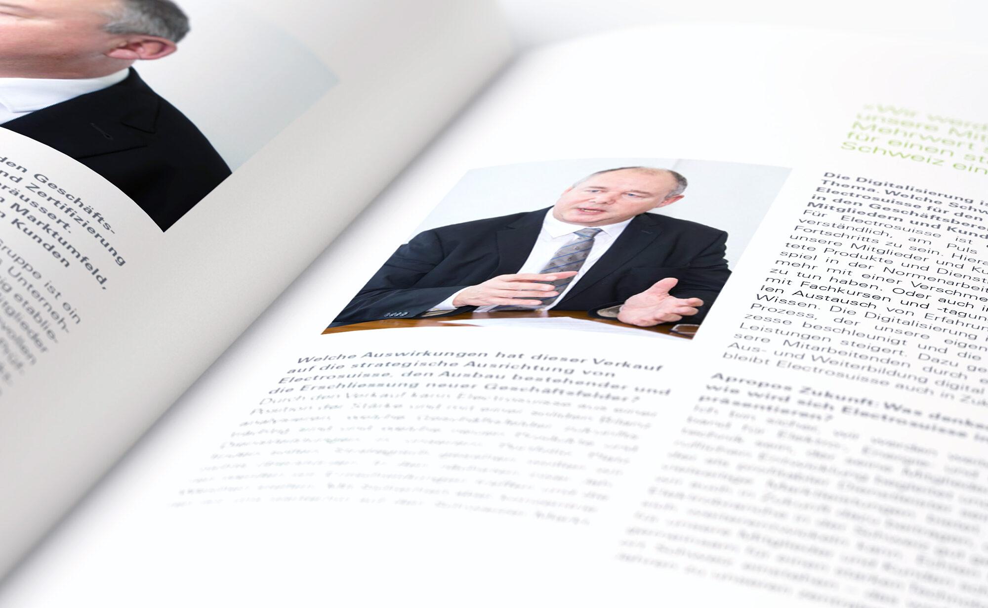 Doppelseite von Broschüre - Electrosuisse Jahresberichte, Agentur Schmucki