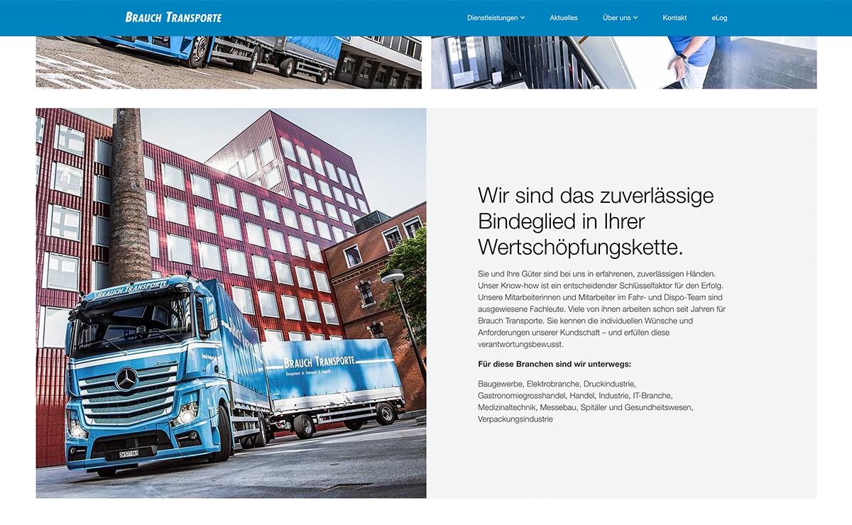 Wir sind zuverlässig, Website Screenshot – Brauch Transport AG, brauch-transporte.ch